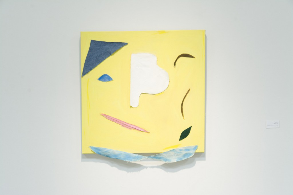 """Lee Asahina, A Ghost at Noon, 2015, Oil, acrylic, canvas, denim, felt on canvas, 30""""x30"""""""