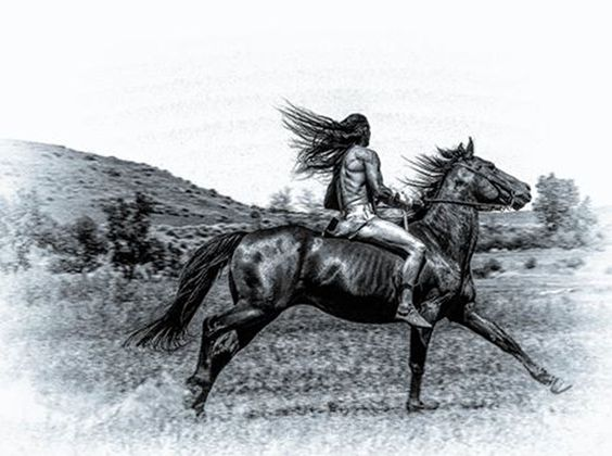 By Kristine Johnson. (Modern Apsáalooke rider on the banks of the Little Big Horn River during the Real Bird Reenactment of the Battle of the Little Big Horn.)