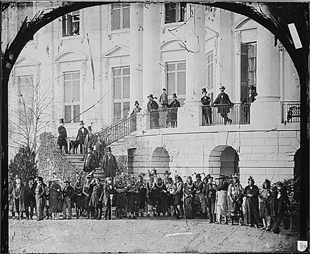 White House, delegation of Indians on grounds, Washington, D.C (National Archives: Records of the Office of the Chief Signal Officer)
