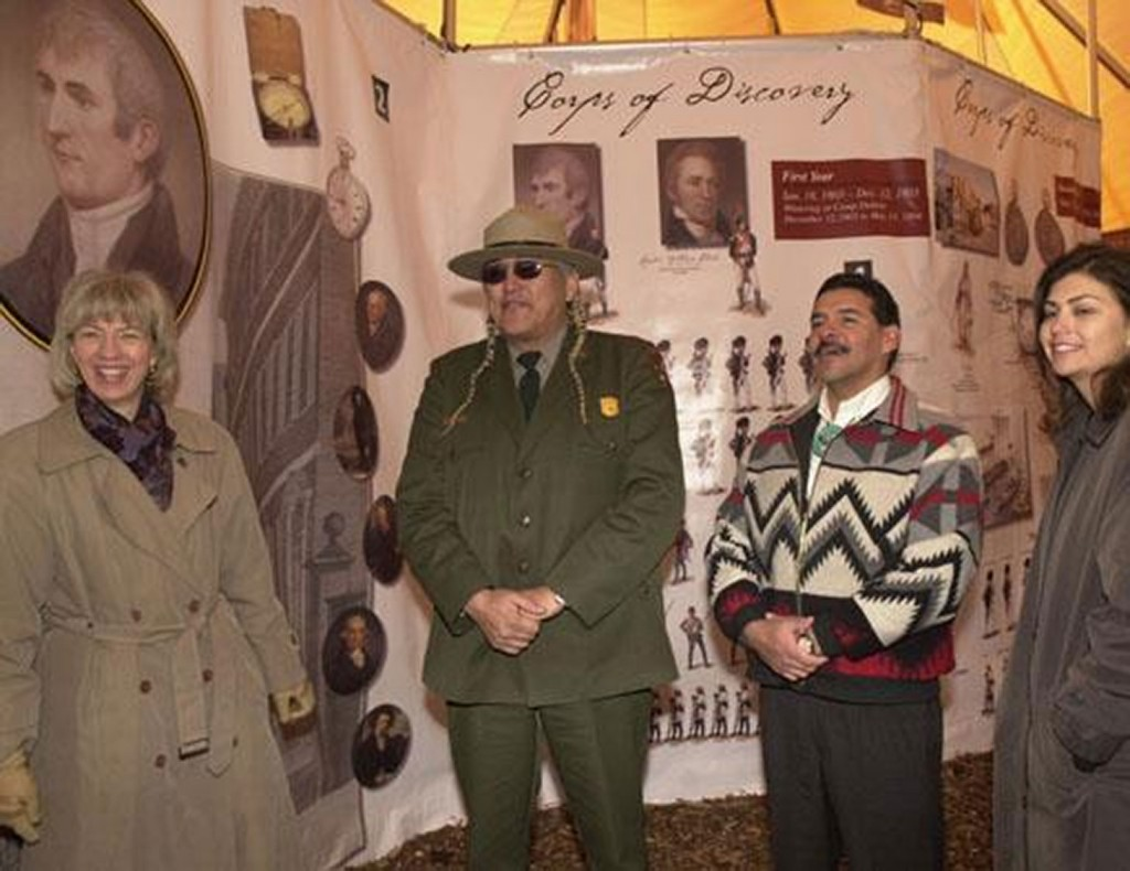 Secretary Gale Norton, Lewis and Clark National Historic Trail Superintendent Gerard Baker, Fort Belknap Indian Reservation Vice Chairman Darrell Martin, Acting Assistant Secretary for Indian Affairs Aurene Martin, left to right, at opening of Lewis and Clark Bicentennial mobile exhibit, Washington, D.C. (National Archives: Department of the Interior, Photographic Services) http://research.archives.gov/description/5612418