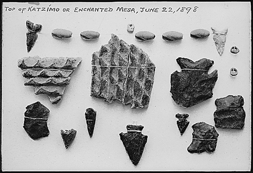 Indian relics (mostly arrowheads) found on the Enchanted Mesa, June 22, 1898, 1900. (National Archives. Records of the National Park Service.)