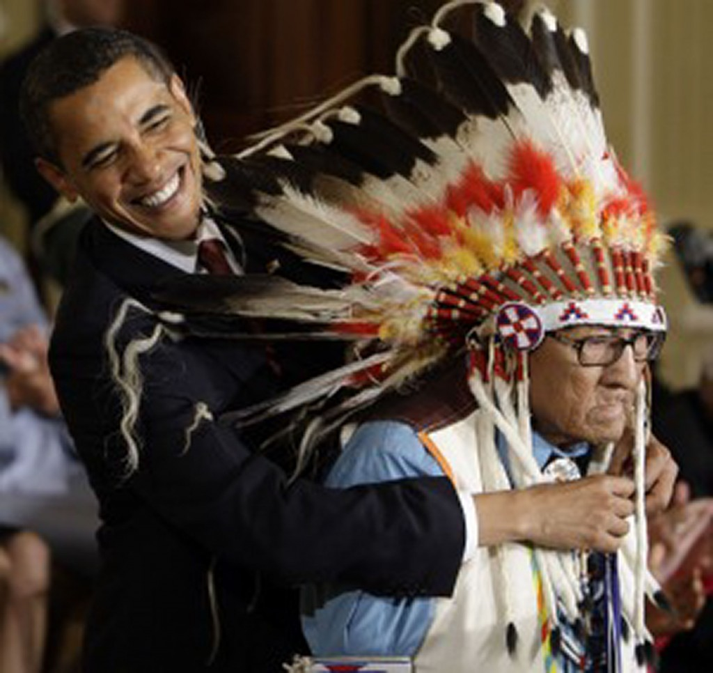 President Obama awarding Dr. Joseph Medicine Crow the Presidential Medal of Freedom. Photo Credit: Bacone College