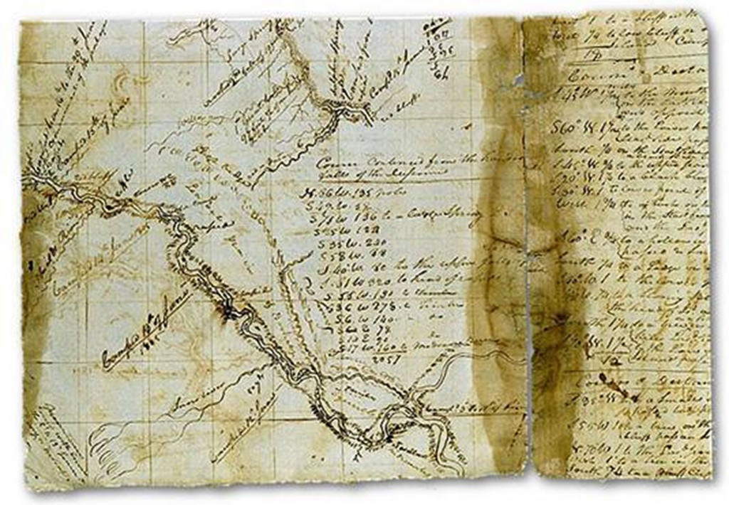 """Soulard Map of the Missouri and Upper Mississippi, 1802"" by William Clark retrieved from: http://lewisandclark13.blogspot.com/2013/12/stage-3-expedition-accomplishments.html"
