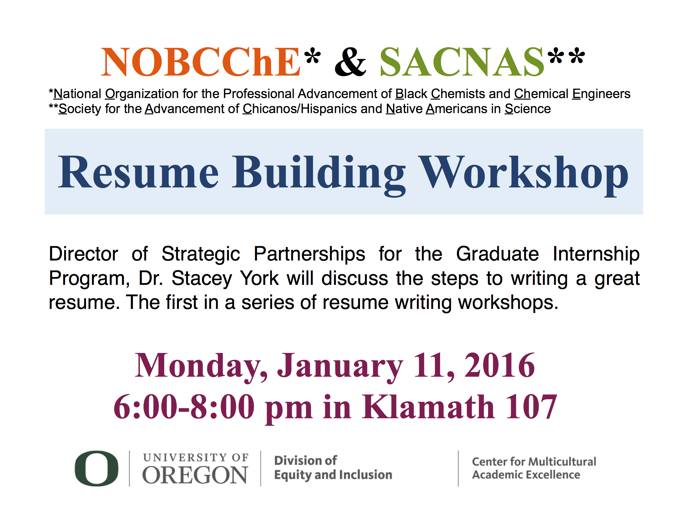 Resume Building Workshop Sacnas At Uo
