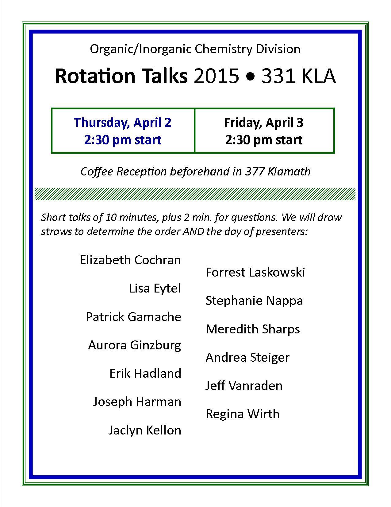 Rotation Talks - April 2015