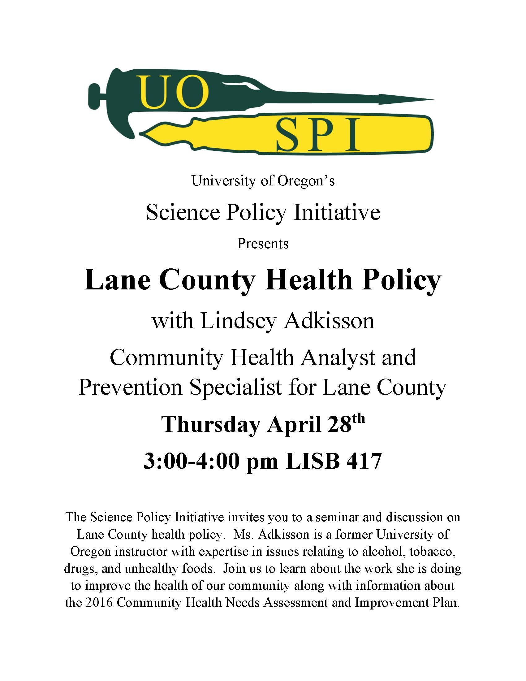 Lane County Health Policy Event Flyer