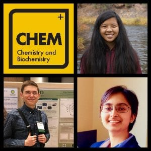 Photo Collage: CHEM Badge, Alexi Overland, Dylan Bardgett, Rima Pandit