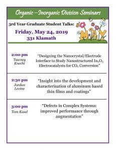 Organic - Inorganic 3rd year Graduate student talks