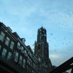 Utrecht's Dom Tower viewed from canal tour