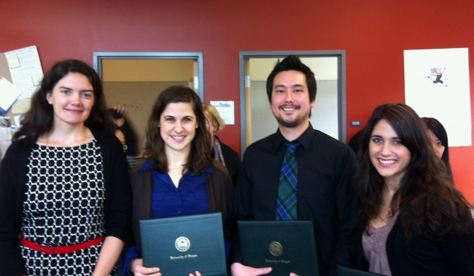 Assistant Dean Rebecca Monro, with recent grads Katrina Galas, Paul Chun, and Christina Early