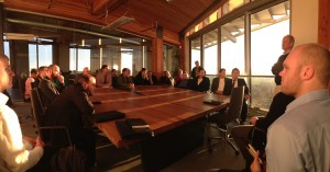 Meeting with Denis Hayes on the top floor of the Most Sustainable Building in the world (Bullitt Center)