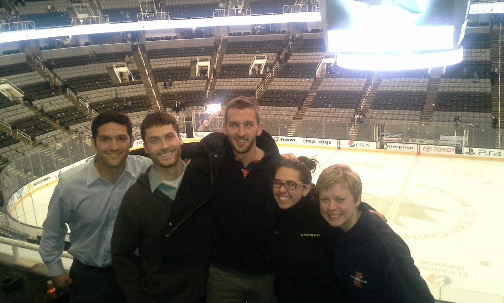 The Warsaw crew at the Sharks/Kings game.