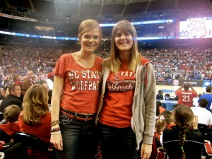 My sister and I at Scottrade Center in St. Louis, Missouri for a Sweet Sixteen game between NC State and Kansas.