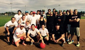 The Warsaw Sports Marketing Center first and second years after a kickball tournament.