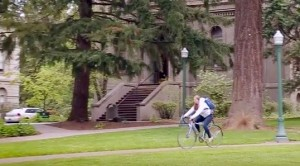 Biking UO campus Eugene