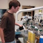 Graduate student in lab