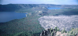 Newberry Volcano: Two lakes and obsidian flow within the Newberry caldera