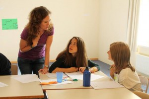 Marcella with her students in Switzerland.