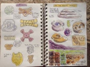 Pages from Pearl Lau's journal from 2014. On the right, details from her visit to San José Mogote.