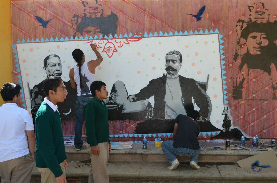 Mural with Zapata (on our right) and Juárez (on the left).  (Photo, ASARO collective)