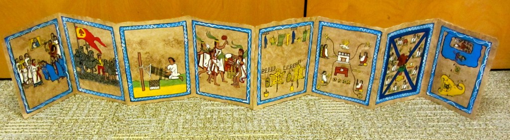 Screenfold Codex Exercise, copying historical scenes (Photo, S. Wood, 2014)