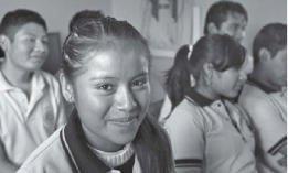 Young woman in Teotitlán's bilingual school, taking part in CEED/CIED. (Photo, R. Hanson, n.d.)