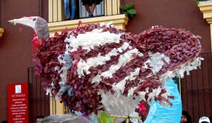 Papier maché guajolote in the calenda (parade). (Photo, R. Haskett, 11 July 2014)
