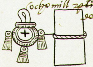 Codex Mendoza detail showing that 8,000 pages of bark paper were a tribute item. (from Mexicolore)
