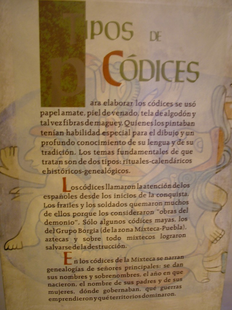 This sign in the museum in the Santo Domingo cultural center speaks about the various types of materials that were used for making codices. (S. Wood, 2009)
