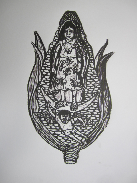 Señora/campesina/virgin in a maize aura (photo, ASARO collective)
