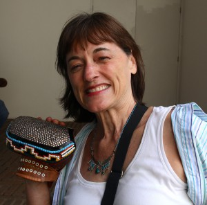 Stephanie Wood, 2014, preparing to try to play Pelota Mixteca (the Mixtec ball game).