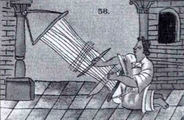 The backstrap loom. Florentine Codex, Book 10, Chapter 10 (public domain)