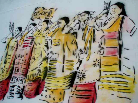 Indigenous women supporting the teachers' movement (Photo, ASARO collective)