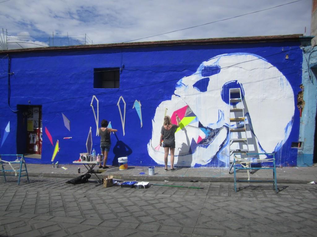 Mural in progress. Skull. (Photo, ASARO collective)