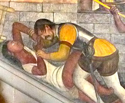 Spanish Conqueror Raping an Indigenous Woman, Diego Rivera mural, National Palace
