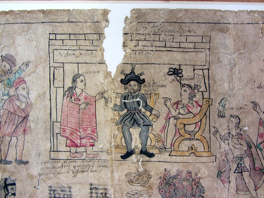 Lienzo de Tlaxcala, fragment in the Benson Library, UT Austin (S. Wood photo, 5/30/2014)