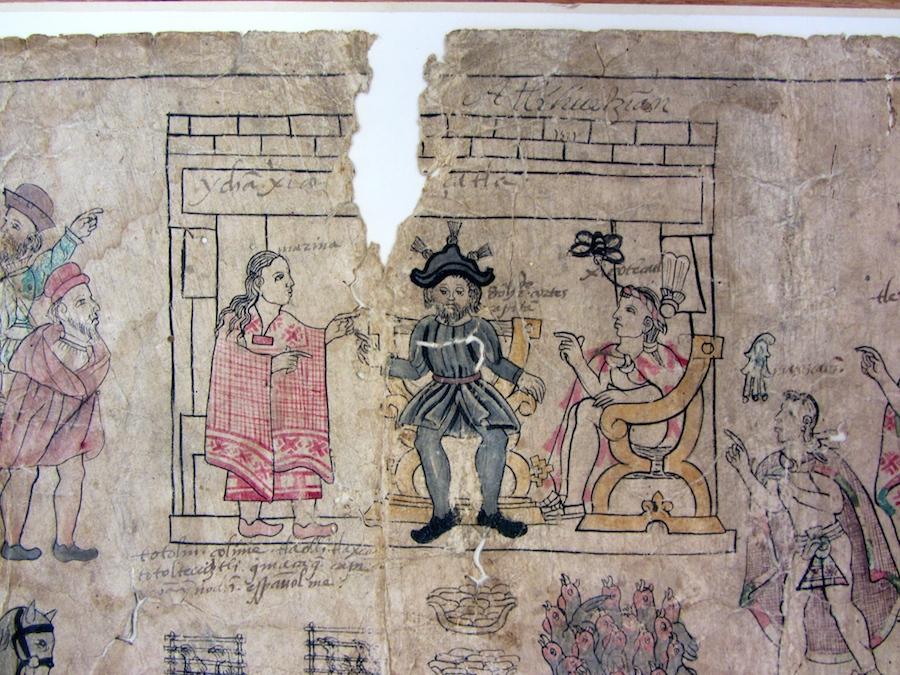 Lienzo de Tlaxcala, fragment in the Benson Library, UT Austin (S. Wood photo, 5/30/2014)
