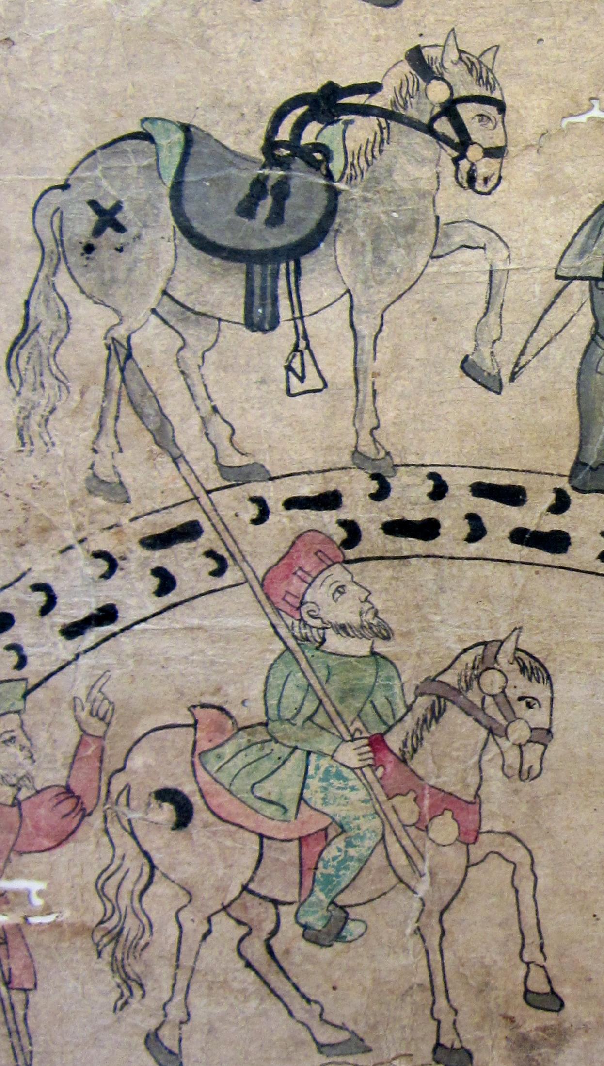 Horses and hoof prints. Lienzo de Tlaxcala, fragment at Benson Library, UT Austin. (S. Wood photo, 5/30/2014)