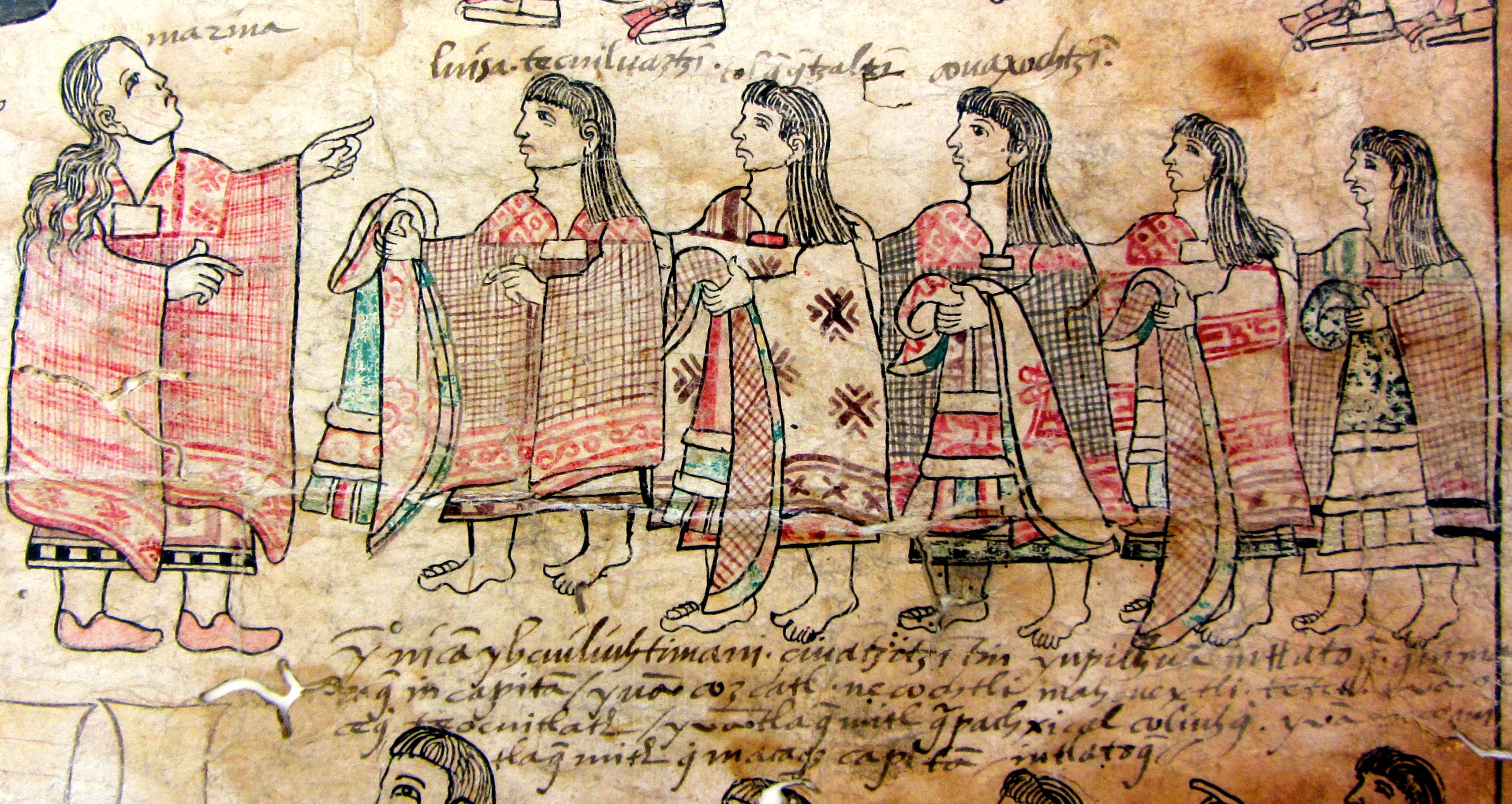 Indigenous women wearing and holding fabrics that they have woven by hand. Lienzo de Tlaxcala, fragment in the Benson Library, UT Austin. (S. Wood photo, 5/30/2014)