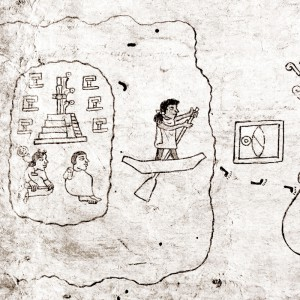 Scene of departure on the migration from Aztlan to what would be the founding of Mexico-Tenochtitlan.  Codex Boturini.