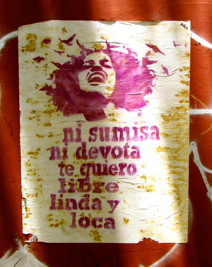 """Neither submissive, nor devoted; I love/want you free, beautiful, and crazy."" (Oaxaca poster, seen July 2014)"