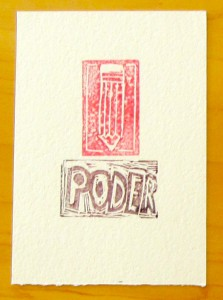 The Power of Writing, block print by NEH Summer Scholar, 2014, Lisa Albrich