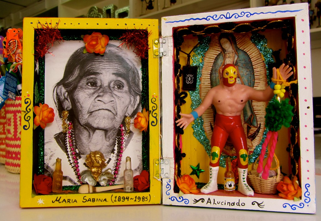 A nicho piece with María Sabina, Lucha Libre, and the Virgin of Guadalupe -- three icons rolled into one. (Photo, S. Wood, July 7, 2014, Oaxaca)