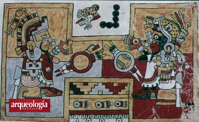 Ball game detail. Codex Nuttall.  Published in Arqueología Mexicana.