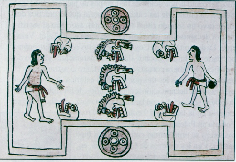 Folio 80 recto, Codex Magliabecchiano, showing the classic ball court, two players, carved rings on the sides, and seven heads of sacrificial victims.