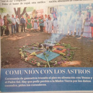 Quincunx with ears of corn pointing to the four cardinal directions. Publicity for an event at the Railroad Museum in Oaxaca, July 2014.