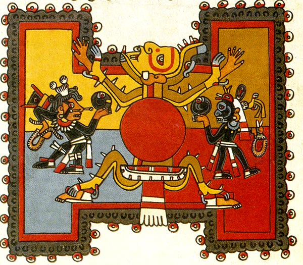 Codex Borgia, detail of a ball court and players.
