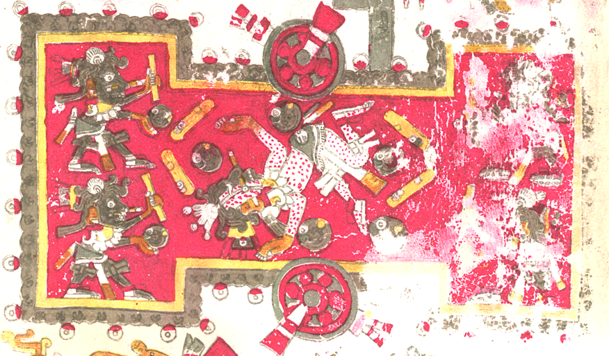 Codex Borgia, detail of ball court, folio 45.