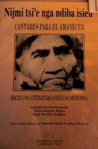 An indigenous-language book with María Sabina on the cover.  (Photo, S. Wood, 2014)