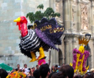 Another turkey in a calenda in Oaxaca in July 2014.  This one is dedicated to San Juan Diego. (Photo, S. Wood)